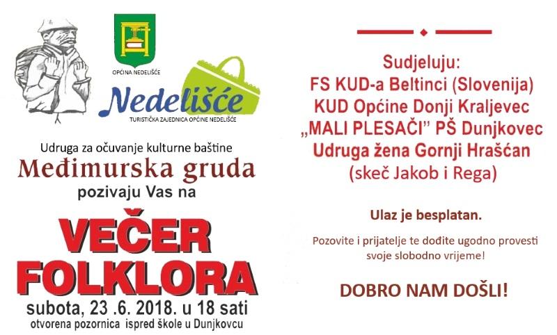 Međimurska gruda organizira Večer folklora u Dunjkovcu