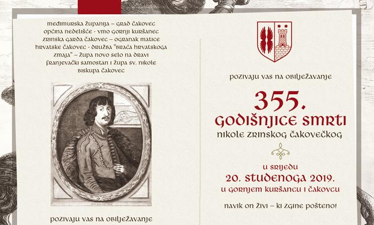Danas obilježavanje 355. godišnjice smrti Nikole Zrinskog u Gornjem Kuršancu i Čakovcu