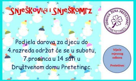 U Pretetinec stižu Snješkovići, Snješkomrz i Sveti Nikola